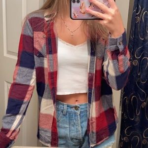 blue red and white flannel